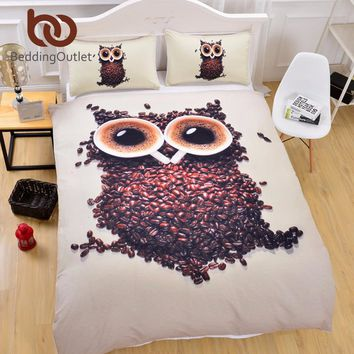 3D Owl Bedding Set Single Size Coffee Beans Printed Duvet Cover with Pillowcases Soft Quilt Cover 3 Pieces