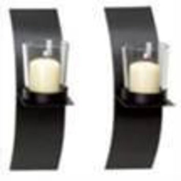 "Hosley's Set of 2 Modern Art Wall Sconces with Clear Glass Votive Holders-9"" High. A Classic Design, Hand Made By Artisans. Includes T-lites Making it a Complete Gift for Your Home, Wedding Showers..."