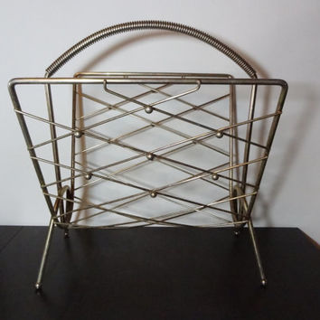 Vintage Retro Brass or Gold Tone Metal Atomic Style Magazine Rack with Diamond Design