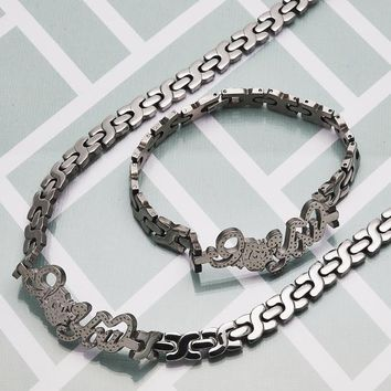 Stainless Steel Women Love Necklace and Bracelet, by Folks Jewelry
