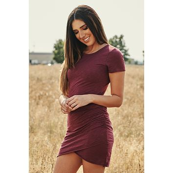 Find Another You Ruched T-Shirt Dress (Wine)