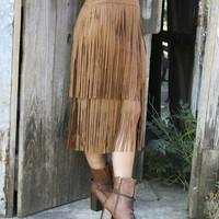 Fringe First Camel Suede Layered Fringe With Back Zipper