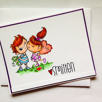 Couple / Boy and Girl Smitten / Love / Hand Colored Greeting Card / Hand Stamped Any Occassion /  Stationary / Handmade Blank Card