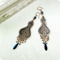 Copper earrings with oriental pattern Gift under by RadhikaJewelry