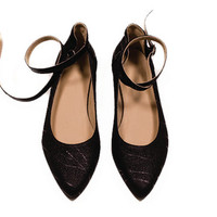 black pumps shoes genuine leather, ballet style