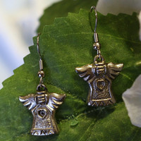 Silver Angel Charm Earrings - Womens Religious Christmas Earrings