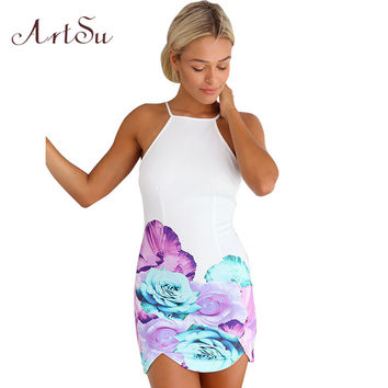 White Strapless Floral Watercolor Dresses Beach Party Print Dress Watercolor