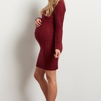 Burgundy-Cable-Knit-Long-Sleeve-Sweater-Dress