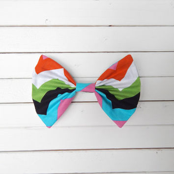 Rainbow Chevron Fabric Hair Bow for Girls/Teens/Adults with French Barrette or Alligator Clip