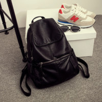 Black Soft Leather School Bag Backpack