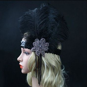 CREYET7 Black Ostrich Rhinestone Feather Headpiece Vintage Party Wedding Headband Flapper 1920s Great Gatsby Hot Hair Band WLL9099