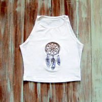 Dreamcatcher Crop Top-White Crop Top-Native American Top-Yoga Crop Top-Boho Crop Top-American Apparel