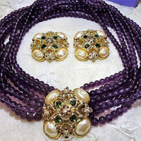 "Beautiful Vintage Elizabeth Taylor for Avon  Forever ""Violets"" Amethyst Coloured Multi Strand Beads Necklace and Earrings"
