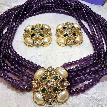 """Beautiful Vintage Elizabeth Taylor for Avon  Forever """"Violets"""" Amethyst Coloured Multi Strand Beads Necklace and Earrings"""