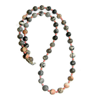 Pink and Grey Zebra Coral Bamboo Beaded Necklace