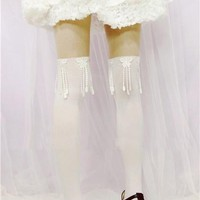 Girls Lolita White Lace Butterfly Tassels Tights Flower Fake-thigh Pantyhose