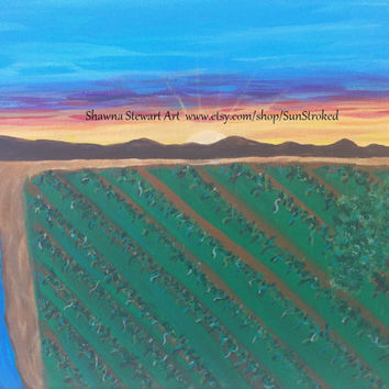 PRINT, Vineyard Sunrise, abstract acrylic energy art, happy art, FREE shipping, landscape, wine