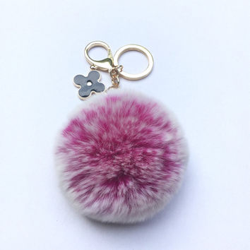 Pom-Perfect Hot Pink frosted REX Rabbit fur pom pom ball with black flower keychain