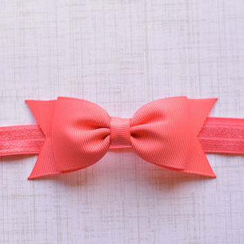 Dark Coral Bow Headband. Dark Coral Baby Headband. Dark Coral Hair Bow Headband. Baby Hair Accessories. Girls Hair Accessories. Coral