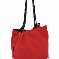 Bordeaux RED VEGAN HANDBAG, Medium Size Purse with Braided Straps and Detachable case. Lightweight bag - Japanese Cube
