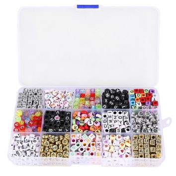 Ellie's Mixed Acrylic Alphabet Letters Beads Cube Charms for DIY Loom Bands Bracelets