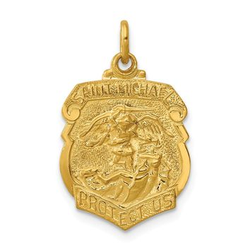 925 Sterling Silver 24k Gold-plated Sterling Silver Saint Michael Badge Medal