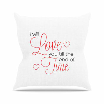 "NL Designs ""I Will Love You"" White Red Throw Pillow"