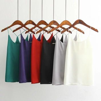 Korean Fashion 2016 Summer Women Sexy White Sleeveless Back Cross V-Neck Basic Casual Camis Silk Look Tank Tops