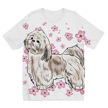 Shih Tzu with Cherry Blossoms Designs by Amitie Kids Sublimation TShirt