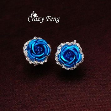 PEAPIX3 Women's New Silver Plated Crystal 6 Colors Roses Stud Earrings For Wedding = 1932938948