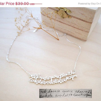 ON SALE Hello February Memorial Signature Necklace -Personalized Handwriting Necklace - Keepsake Jewelry in Sterling Silver -Bridesmaid Gift