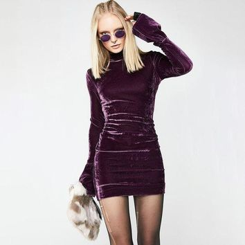 ac ICIKB5Q Long Sleeve Women's Fashion Winter Hot Sale Suede Stylish Ladies One Piece Dress [519556694057]