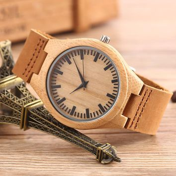 GORBEN New Arrival Brown Wood Watch Mens Womens Designer Watches Sculpture Design Luxury Bamboo Wooden Watch in Original Box