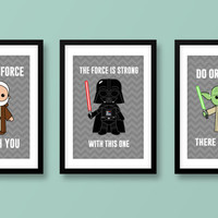 Star Wars wall art, kids wall art, Star Wars, Darth Vader, Jedi, Obi-Wan Kenobi, Yoda, Star Wars nursery, Star Wars wall art, Jedi print