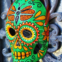 Green and Orange Dia De Los Muertos Mask - Sugar Skull Art - Hand Painted Sugar Skull Mask - Mexican Folk Art - Paper Mache Mask - Calavera