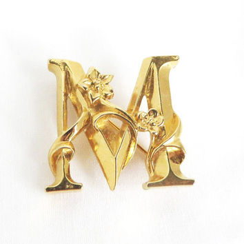 Vintage Avon Letter Brooch, Gold Tone Initial M Pin, Christmas Gift For Her