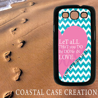 Samsung Galaxy S3 Hard Plastic or Rubber Cell Phone Case Cover Original Pink Heart Chevron Bible Quote Design