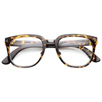 Metal Bridged T-Riveted Horned Rimmed Classic Style Eyeglasses