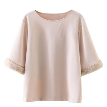 Light Pink Faux Fur Trim Short Sleeve Blouse
