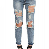 Midwash Blue Ripped Denim Jeans