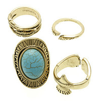 4 PC Aged Gold Turquoise Ring SET