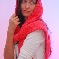 Hood scarf, coral winter long scarf, hooded cabled winter merino wool scarf, extra long knitted scarf, Christmas gift.