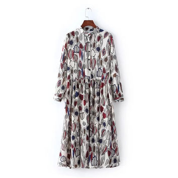 Leaf Print Stand Collar Single Breasted Long Sleeve Chiffon Knee-Length Dress