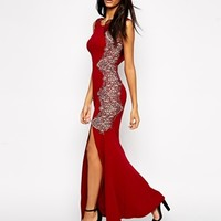 Lipsy Fishtail Maxi Dress With Lace Sides