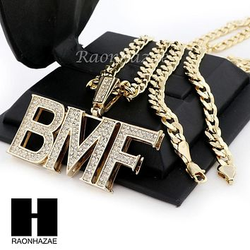 MENS HIP HOP BMF PENDANT & DIAMOND CUT CUBAN LINK CHAIN NECKLACE NN42