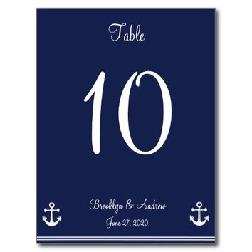 Navy Blue Nautical Wedding Table Numbers