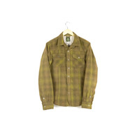 prana fleece & corduroy flannel jacket / moss green / plaid / outdoors / hiking / grunge / rustic / mens size small