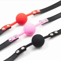 Rubber&Pu Mouth Stuffed Silicone ball Leather Mouth Gag Sex Products toys Adult Games