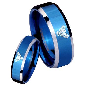 His Her Shiny Blue Bevel Phoenix Two Tone Tungsten Wedding Rings Set