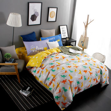 New Design Jurassic Dinosaurs 4pcs Bedding Set Cartoon Home Textile Twin Full Queen King Size bedclothes bed Linen bed sheet